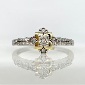 10K White Gold Flower Princess Diamond Ring .30ct